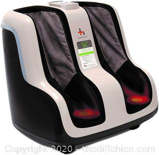 ($267) Human Touch Reflex SOL Foot and Calf Relaxation Shiatsu Massager with Heat and Vibration- Patented Technology - Extended Height, Adjustable Tilt Base with Under Foot Massage Rollers, Black and White