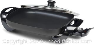"Elite Gourmet EG-1500 Maxi-Matic Electric Skillet with Glass Lid, 15"" by 12"", Black"
