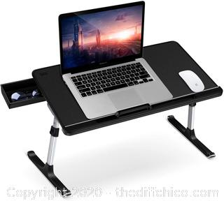 Laptop Table Stand Desk, SAIJI Adjustable PVC Leather Laptop Bed Table, Portable Standing Desk with Storage Drawer, Foldable Lap Tablet Desk for Sofa Couch Floor (Large,Black)