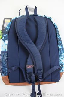 "NEW Trans by Jansport 17"" Super Cool Indigo Shibori Backpack Blue School Travel Pack"