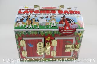 NEW SEALED (39.99) Melissa & Doug Wooden Latches Barn with Animals