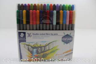 NEW Staedtler Double Ended Fibre Tip Pens - Assorted Colours (Wallet of 36)
