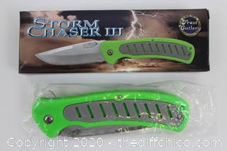 STORM CHASER III 3-1/2 IN BLADE FOLDING LOCK KNIFE ZOMBIE GREEN
