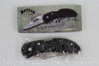 NEW Frost Cutlery Little Gator Folding Knife Satin Finish Stainless Steel Blade