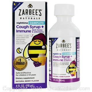 NEW Zarbee's - Complete Nighttime Cough Syrup + Immune Dark Honey & Elderberry Exp 1/2022