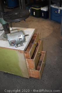5 Speed Drill Press mounted on 3 Drawer Cabinet -needs new motor