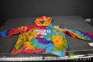New Rainbow Swirl Hood Sweatshirt size XL