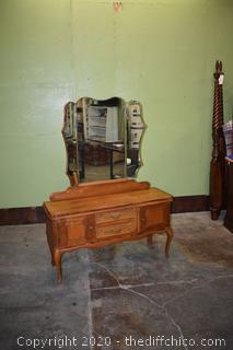 Vintage Oak Vanity plus Tri Mirror