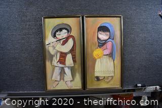 Framed Pair of Signed Oil