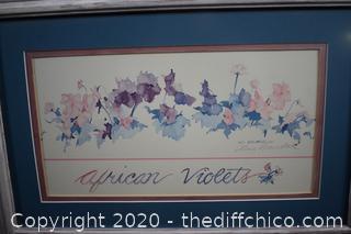 Framed and Signed African Violets