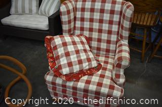 Red and White Wingback Chair w/pillow