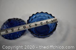 Fostoria American Pattern Cobalt Blue Dish w/lid