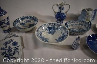 11 Pieces of Blue and White