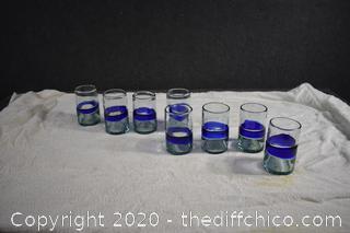 8 Heavy Glasses w/cobalt blue