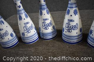 5 Blue and White Decanters