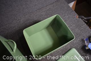 2 Jadite Green Tins-Dirt and Garden Stuff