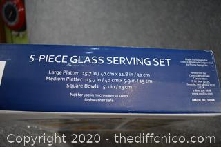 NIB 5 Piece Glass Serving Set