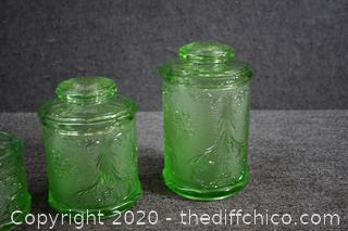 3 Green Glass Canisters