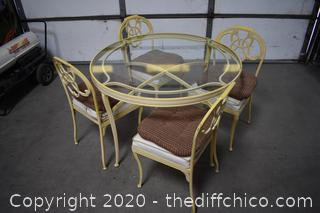 Glass Top Table plus 4 Chairs