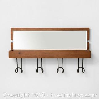 Entryway Wood Hook Rail With Shelf And Mirror Brown BRAND NEW