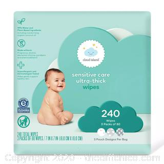 Sensitive Care Ultra-Thick Baby Wipes - Cloud Island 240CT