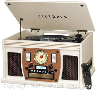 Victrola Navigator 8-in-1 Bluetooth Record Player & Multimedia Center with Built-in Stereo Speakers - 3-Speed Turntable, Vinyl to MP3 Recording | Wireless Music Streaming | White, 1SFA (VTA-600B-WHT)