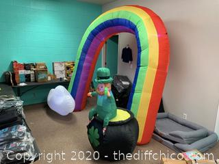 Holidayana Inflatable St Patrick's Day Leprechaun in Pot of Gold at the End of the Rainbow (J171)