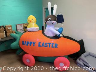 Holidayana Inflatable Easter Bunny Driving Carrot Car with Baby Chick in Egg (J174)