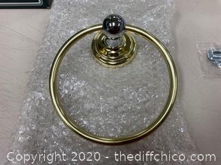 Franklin Brass 9016PBPC Polished Brass/Chrome Towel Ring (J236)