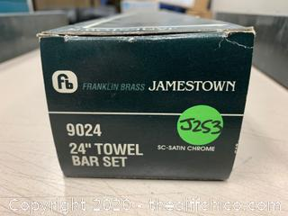 "Franklin Brass 9024-SN Jamestown Bath 24"" Towel Bar Satin Nickel (J253)"