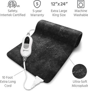 GENIANI Extra Large Electric Heating Pad for Back Pain and Cramps Relief XL BLACK