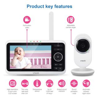 """VTech VM350 Video Baby Monitor with 5"""" Screen, Long Range, Invision Infrared Night Vision, Two Way Talk, Auto On Screen, Soothing Sounds and Lullabies, Temperature Sensor"""