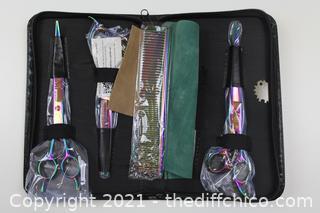 Purple Dragon 7.0 inch Rhinestone Decoration 3PCS Pet Grooming Scissors Dog Hair Cutting & Thinning Shears Set