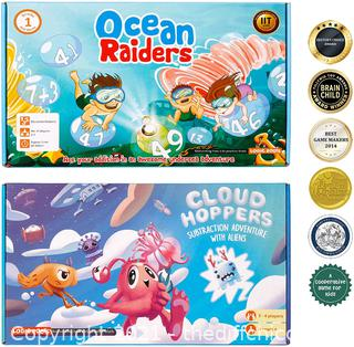 Logic Roots Addition Games - Pack of 2, Cloud Hoppers and Ocean Raiders, Math Board Games and STEM Toys for 5 - 9 Year Olds, Educational Gift for Kids, Homeschoolers, Kindergarten and Up