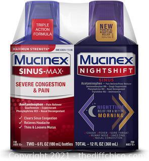 NEW Mucinex Maximum Strength Sinus-Max Severe Congestion & Pain & Nightshift Sinus Liquid, 6 Fl Oz