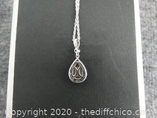"Beautiful Neil Lane 19"" Diamond Necklace With Pear Shape Pendant .55 I-I2  ( VALUED 1899.) 42 Diamonds total"