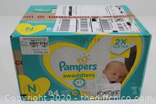 NEW Pampers Swaddlers NEWBORN 84 Count Box