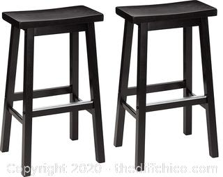 """AmazonBasics Classic Solid Wood Saddle-Seat Counter Stool with Foot Plate - 24"""", Black, 2-Pack"""