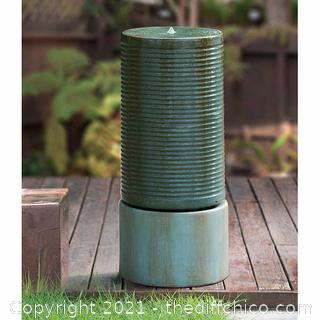 ($349) Modern Ribbed Self-contained Outdoor Fountain