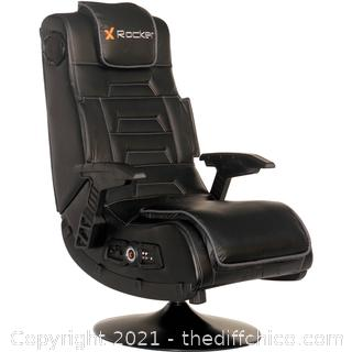 BRAND NEW ($249) X Rocker Pro Series 2.1 Vibrating Black Leather Foldable Video Gaming Chair with Pedestal Base