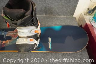 "Rossignol Snow Board With Boots 11 ,    5ft long 10"" wide"