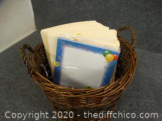 Basket With File Folders & Paper