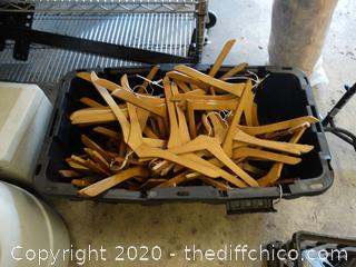Tub Of Wooden Hangers Tub Included