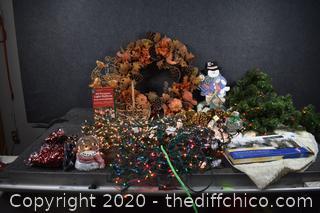 Christmas Wreath, Lights and More