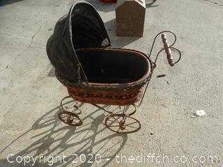 Wicker Baby Carriage With Cast Iron Spokes and Frame