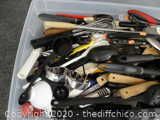 Tub Of Kitchen Utensils