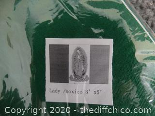New 3'x5' Lady Of Mexico Flag