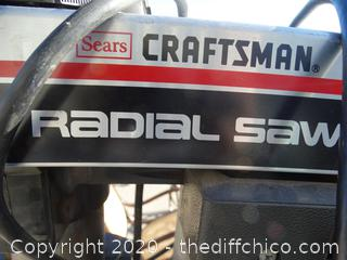 """Craftsman 10"""" Radial Saw With Stand Working"""