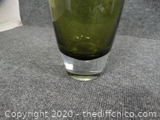 Heavy Glass Green Vase