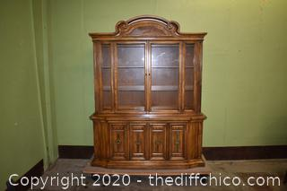 2 Piece Hutch w/working lights and glass shelves